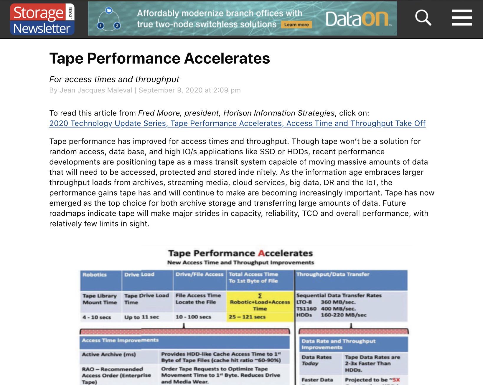 Tape Performance Accelerates white paper featured in Storage Newsletter